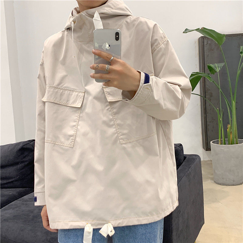 2020 Spring And Autumn New Youth Popular Solid Color Men's Wild Ins Hooded Jacket Fashion Casual Top Black / Grey M-2XL