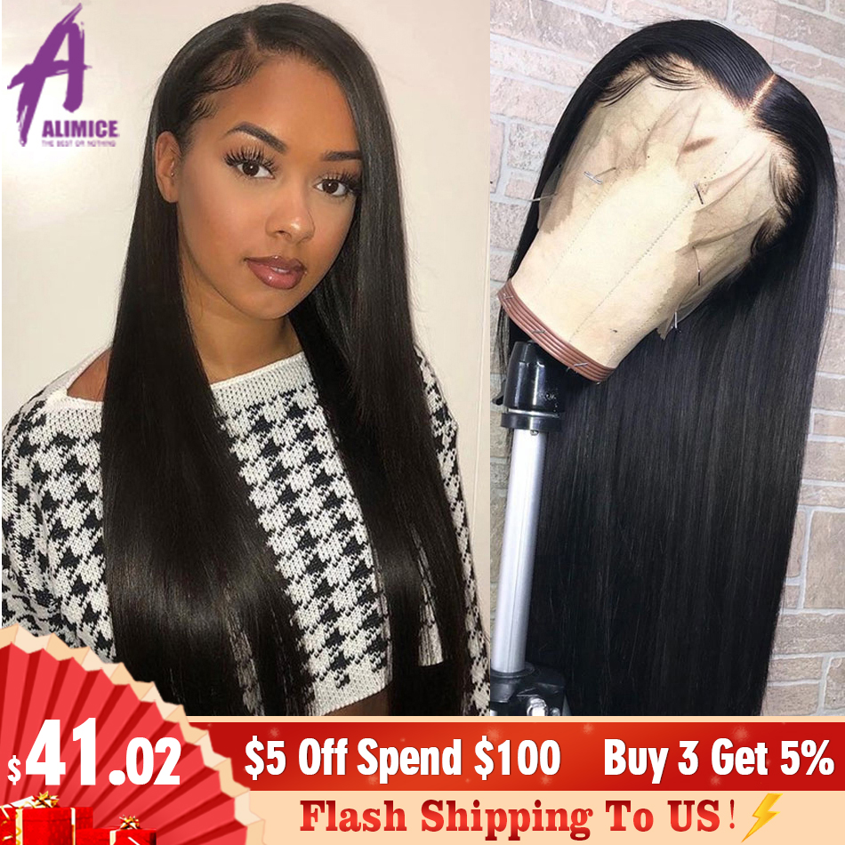 Straight 13x4 Lace Front Wig Peruvian Remy Human Hair Wigs Glueless Front Lace Wig For Black Women Pre Plucked Bleached Knots