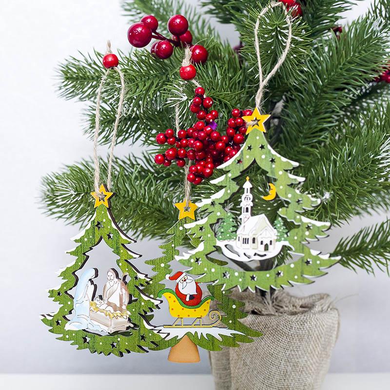 1Pcs Snowflake Deer Santa Claus Christmas Tree Natural Wood Pendant Hanging Ornament Xmas New Year Party Decor Supplies 62883