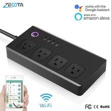 Alexa Echo Dot enchufe inteligente de 4 vías con WiFi, tira de alimentación inalámbrica con 4 puertos USB, Control remoto por voz, Google Home