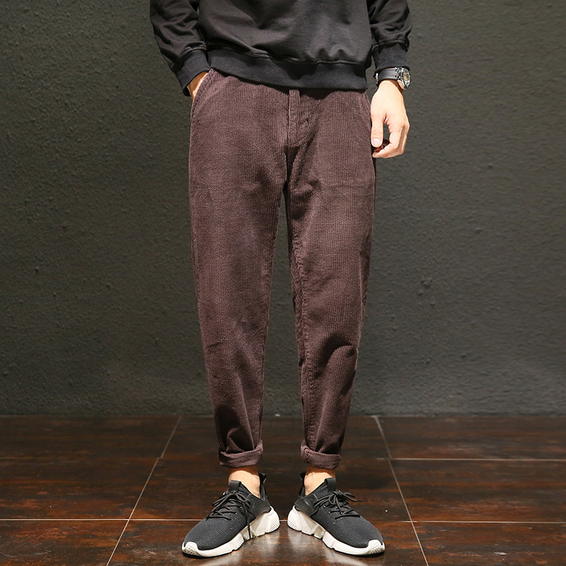 2019 Spring And Autumn New Basic Japanese Retro Loose Casual Corduroy Pants Plus Fertilizer To Increase Gray Black / Brown