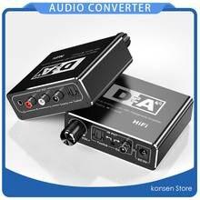 Amplificador de auscultadores de alta fidelidade dac amp digital para conversor de áudio analógico rca 3.5mm toslink saída coaxial óptico portátil dac 24bit