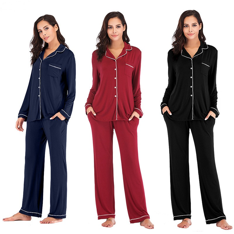 JULY'S SONG  2019 Women's Modal Pajamas Set 2 Pieces  Sleepwear Soft  Plus Size Women Autumn Casual Homewear