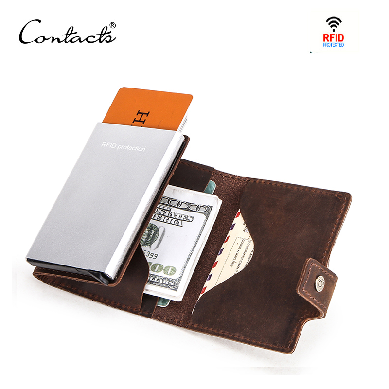 CONTACT'S Crazy Horse Leather Men Wallet RFID Blocking Credit Card Holder Aluminum Box Automatic Pop Up Business Security Purse
