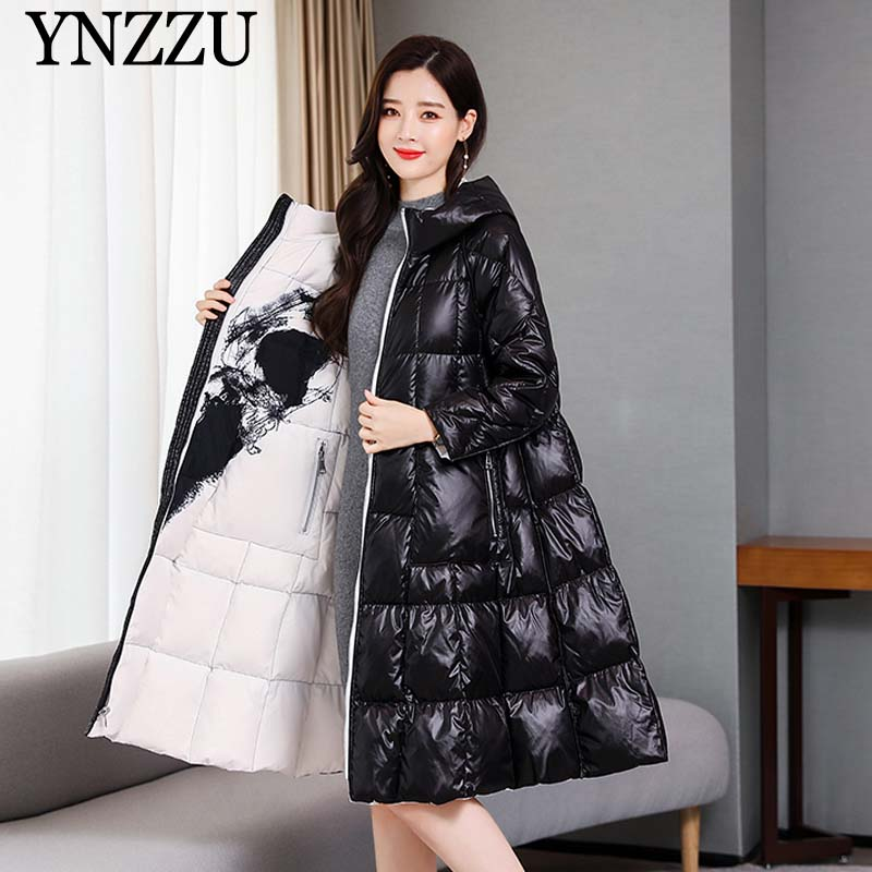 Women Loose Print Long Down Coat 2019 Winter Two Side Wear Hooded Female Parkas Coat Vintage Elegant Outwear Warm YNZZU 9O089