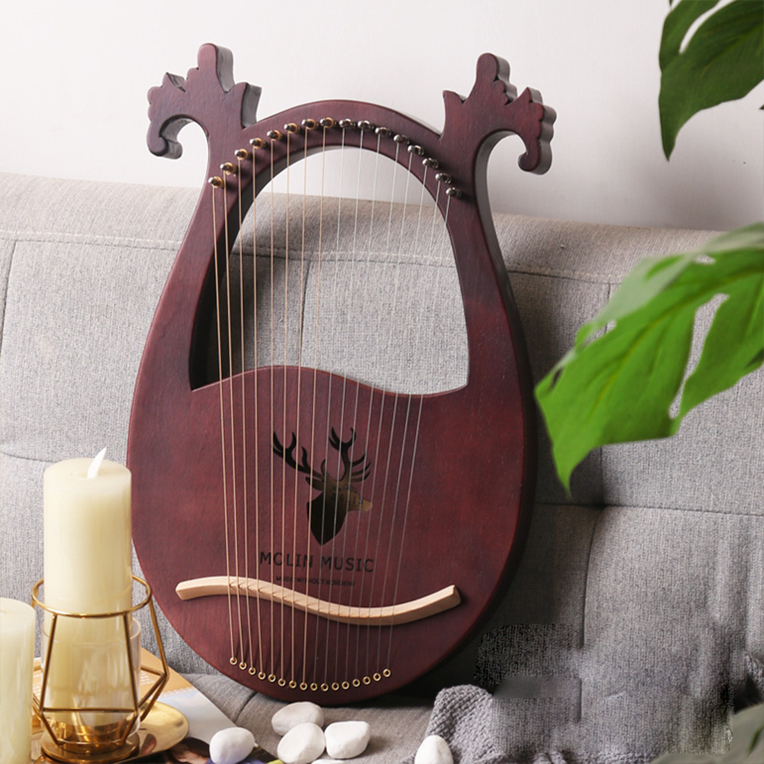 16 Strings Solid Wood Lyre Wooden Harp Classical Musical Instruments For Children Gift- Purplish Red Reindeer/Burlywood Reindeer