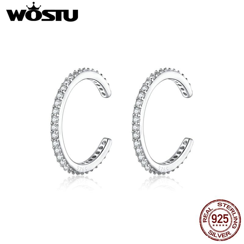 WOSTU 925 Sterling Silver Ear Cuff Clip Earrings Round Zircon Without Piercing Stack Earrings For Women Fashion Jewelry CQE842