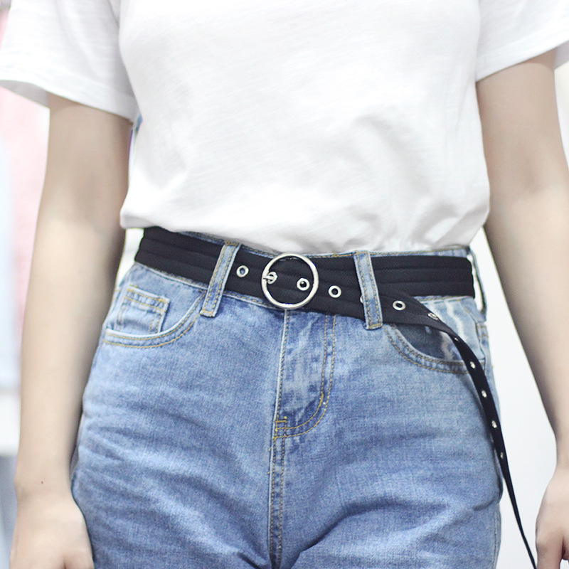 Woman 39 s Weaving Canvas Belt Fashion Round Buckle Vintage Punk Long Belts For Women Jeans Strap Luxury Ladies Belt Pink 110 3cm in Women 39 s Belts from Apparel Accessories