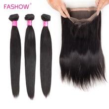FASHOW cheveux humains avec fermeture cheveux péruviens 3 paquets avec 360 fermeture frontale pré-plumé délié naturel mode cheveux Style En soldes