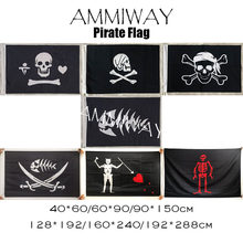 AMMIWAY Pirate Fish Stede Bonnet Henry Every Blackbeard Edward Low Teach Skull and Cross Crossbones Sabres Flags and Banners