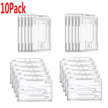 10 Pack Heavy Duty 2-Sided ID Badge Holder Hard Plastic Horizontal & Vertical Clear Holder With Thumb Slots 2-3 ID Card Holder 1