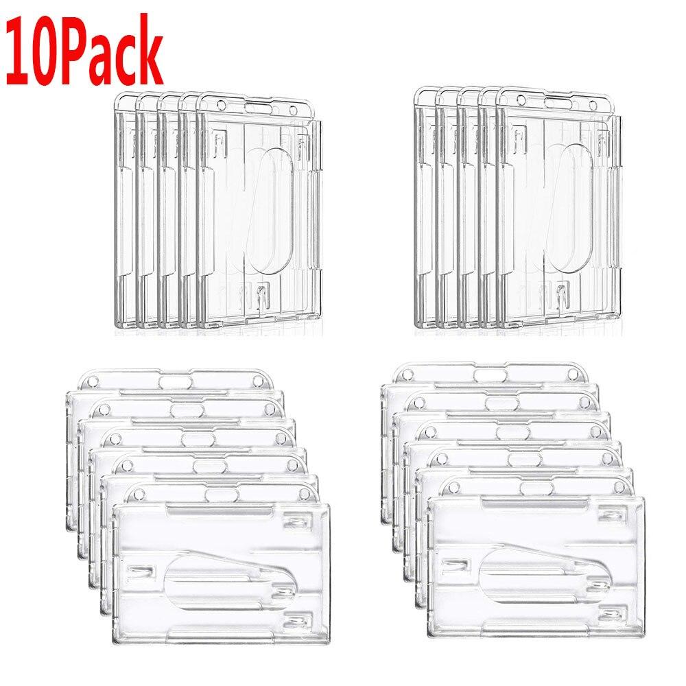 ID Badge Holders w Thumb Holes Vertical Top Load 2-Card 10 Rigid Clear Plastic