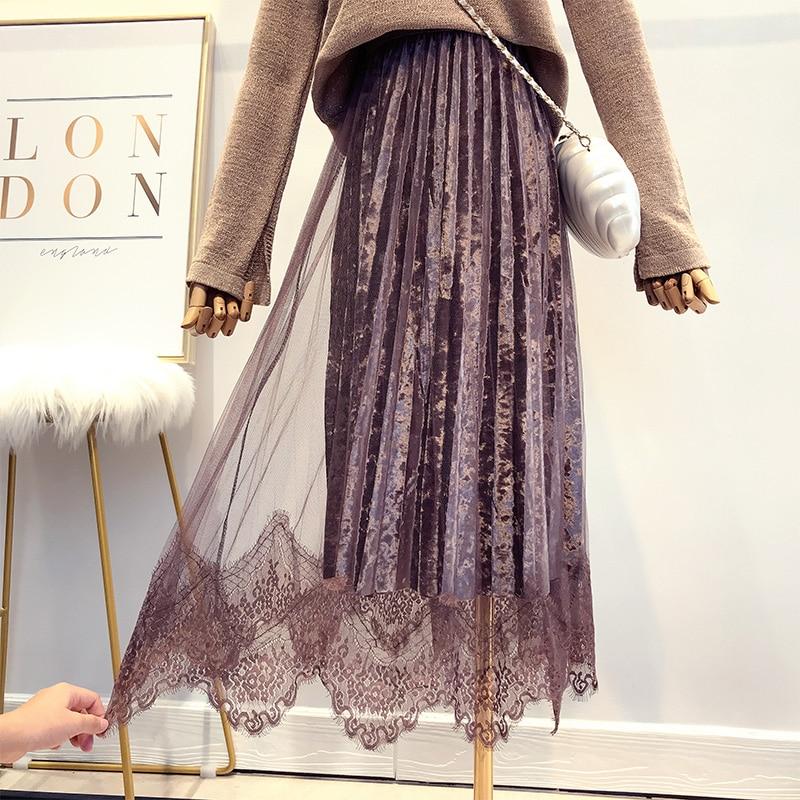 Autumn New Women Super Fairy Lace Spliced Velvet Skirt Winter High Quality Elegant Tulle Long Pleated Skirt Falda Mujer Saias