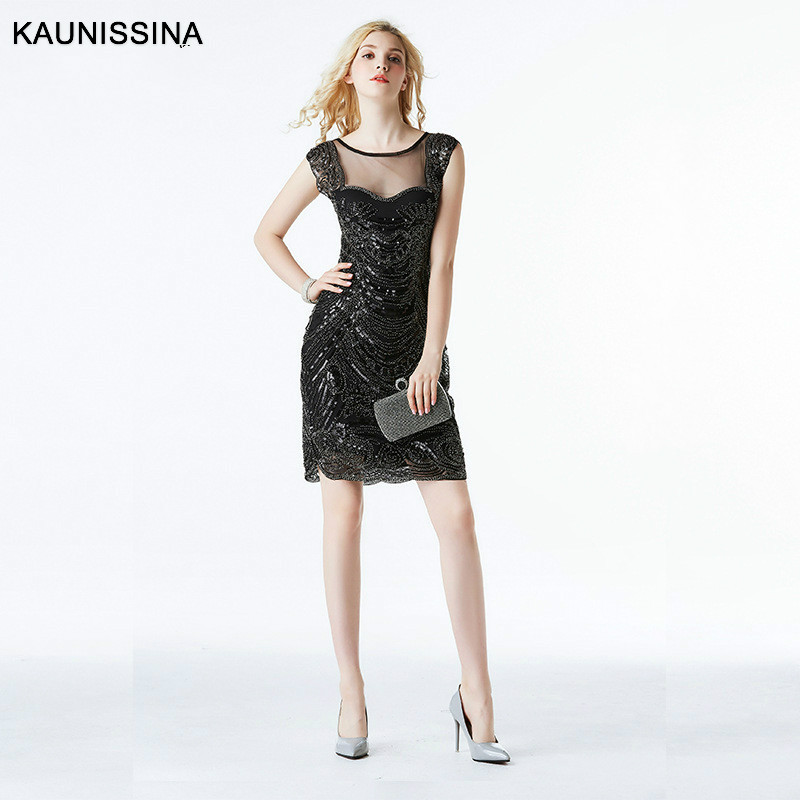 KAUNISSINA Ladies Sexy Cocktail Dress Mini Sequined Party Robe Short Cap Sleeve Backless Black Homecoming Dress
