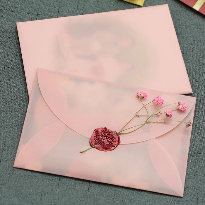 40pcs/pack Pink Retro Semi-transparent Envelope DIY Envelope Sulfuric Acid Paper Envelope Card Packing Wedding Invitation