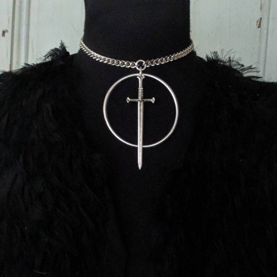 Silver plated Swords Necklace,Choker Necklace – Tarot – Goth – Avant Garde – Occult – Witchy- Edgy – Medieval Jewelry