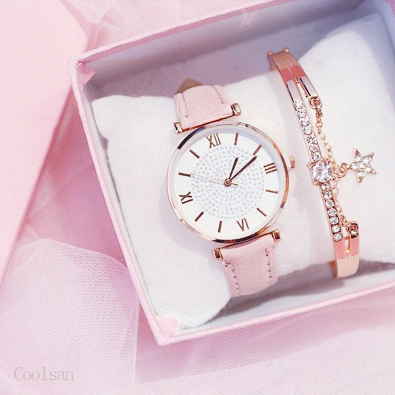Роскошные женские часы браслет набор звездное небо женские часы повседневные кожаные кварцевые наручные часы девушка часы relogio feminino