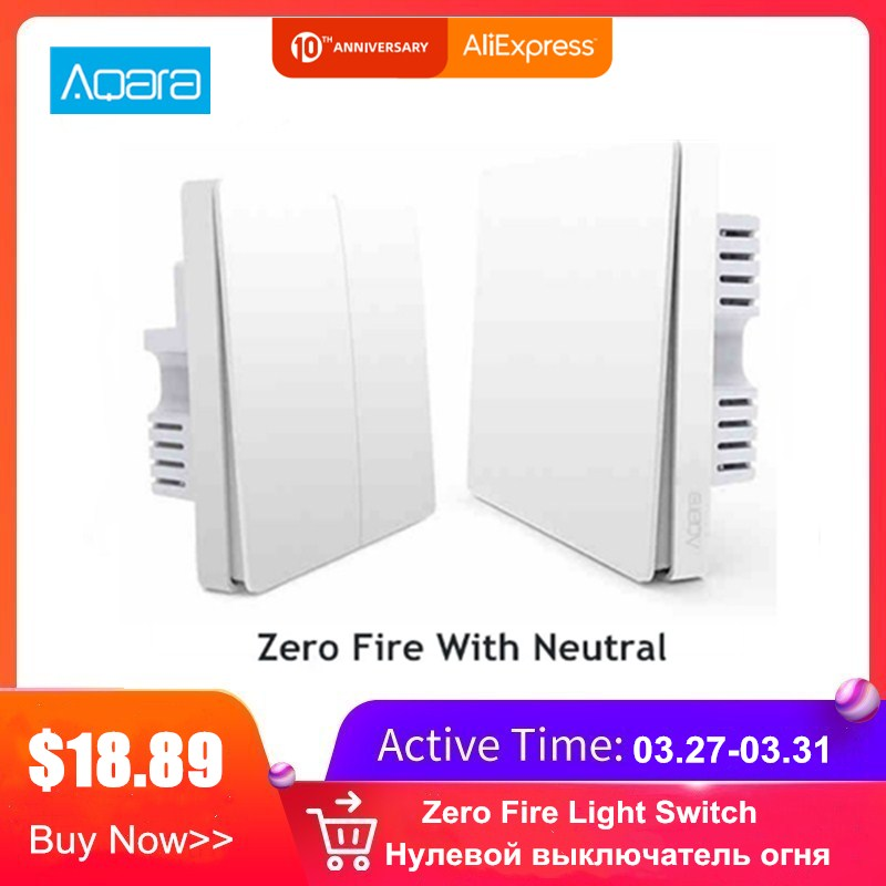 Aqara Smart Light Control Fire Wire And Zero Line Zigbee Light Remote Control Wireless Key Wall Switch With Neutral Mi Home