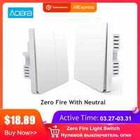 Aqara Smart Licht Control Feuer Draht Und Null Linie Zigbee Licht Fernbedienung Wireless Key Wand Schalter Mit Neutral Mi hause