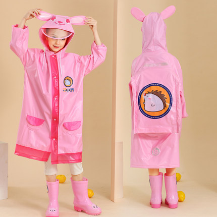 Boys and Girls Raincoat Kids Cute Cartoon Yellow Rain Coat Long Rain Poncho Kindergarten Waterproof School Capa De Chuva Gift 4