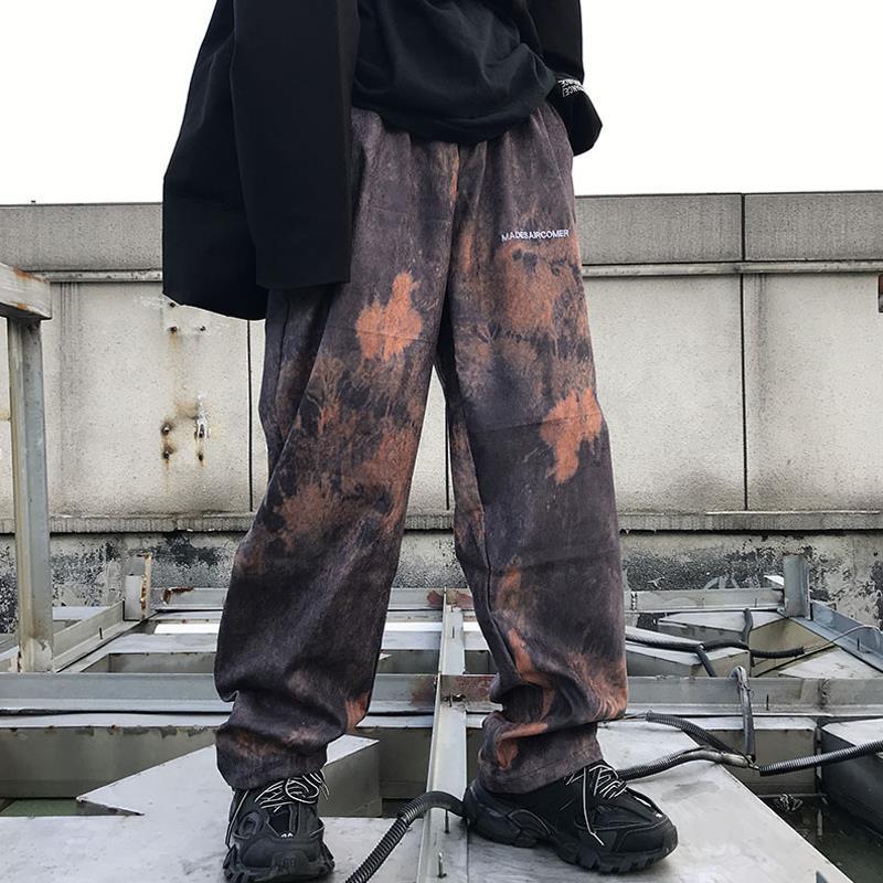 NiceMix Woman Wide Leg Pants Tie Printed Streetwear Long Trousers Ladies High Waist Elastic Planlon Pant Female Hip Hop Spring