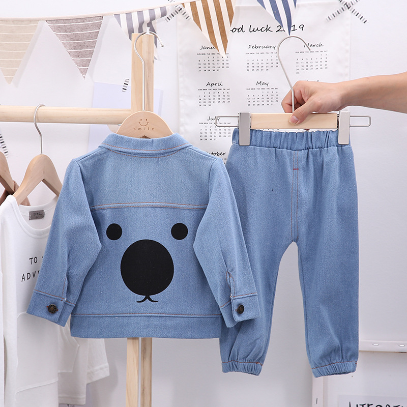 Baby boy clothes new denim clothing two-piece baby casual cartoon print denim clothing baby boy clothes denim cardigan suit