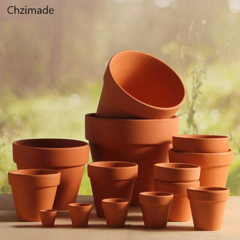 Chzimade 5Pcs Small Mini Terracotta Pot Clay Ceramic Pottery Planter Cactus Flower Pots Succulent Nursery Pots