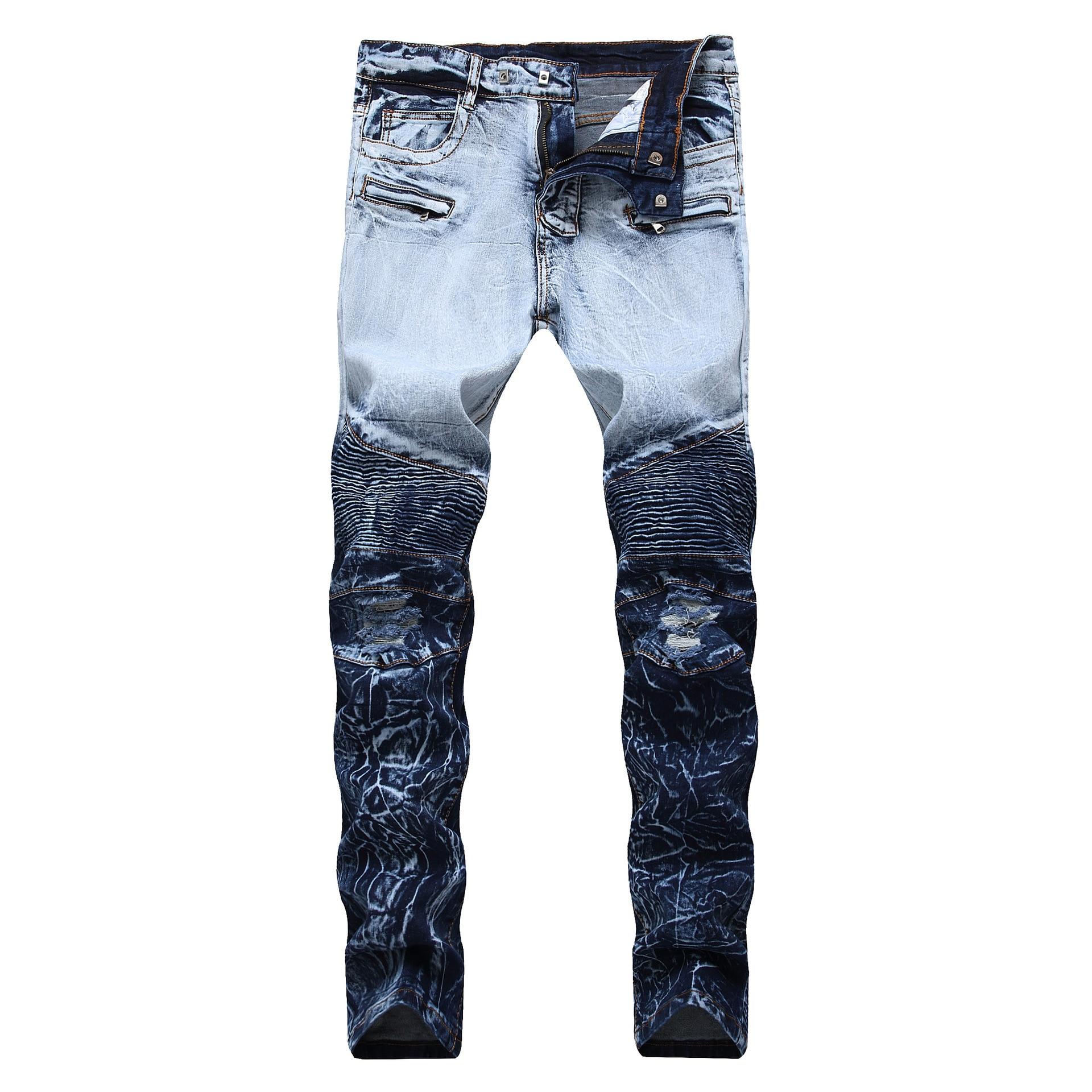 2020 AUTUMN Spring Men's Ripped Print Street HIP HOP Punk Stretch Bike Jeans Trendy Holes Straight Denim Trouers