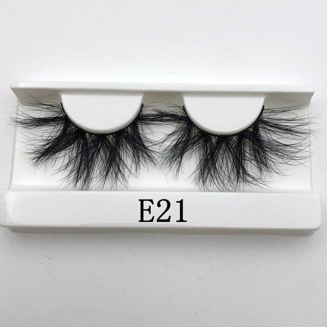 Mikiwi 25mm Long 3D mink lashes E01 extra length mink eyelashes Big dramatic volumn eyelashes strip thick false eyelash 4