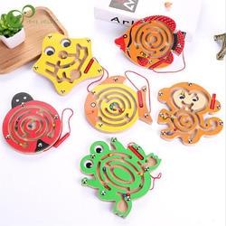 Kinderen Houten Animal Track Kralen Magnetische Pennen Moving Maze Speelgoed Kinderen Intelligentie Puzzel Game Baby Vroege Educatief Speelgoed Yjn