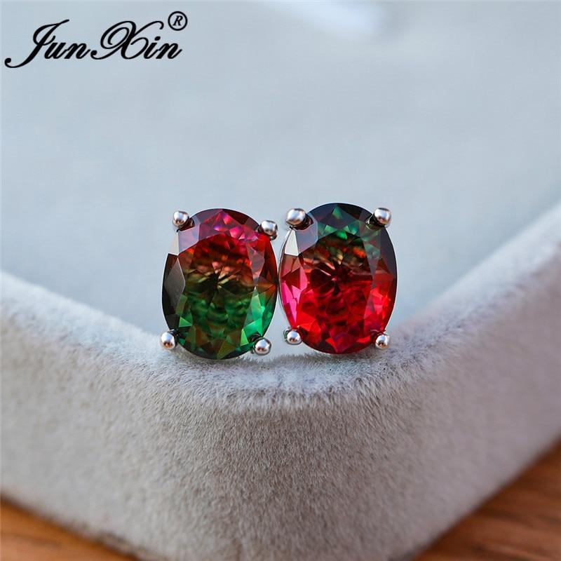 Female Gradient Red Green Rainbow Fire Crystal Earrings White Gold Colorful Zircon Oval Stud Earrings For Women Wedding Jewelry