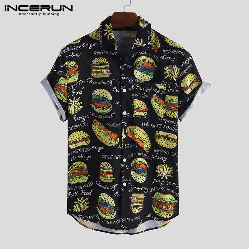 INCERUN hommes chemise impression revers cou manches courtes décontracté Camisa Masculina Streetwear personnalité Chic hawaïen chemises hommes 2020