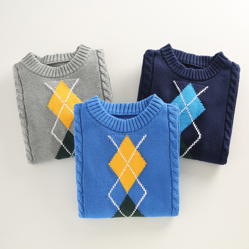 boys pullover knitting  Sweater Children's sweater  Winter Children's clothing New  Cotton Clothing Keep warm O-Neck Sweater 4