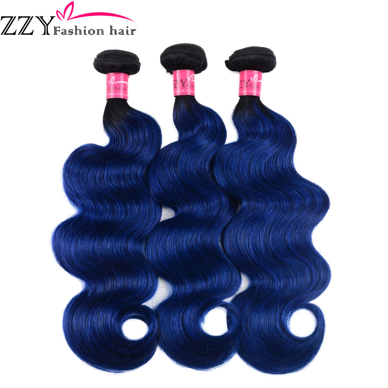 ZZY Fashion Hair Peruvian Hair Weave Body Wave Bundles Human Hair Bundles Non-remy Ombre T1B Blue Hair Extensions