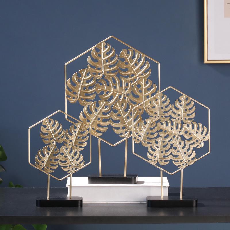 Simple Golden Turtle Leaf Ginkgo Leaf Iron Round Ornament Home Decoration Accessories Modern Romantic Desktop Romantic Decor