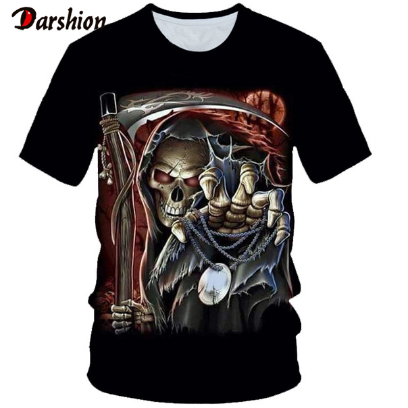 Drop Ship Summer New Funny Cool Skull 3d T Shirt Summer Hipster Short Sleeves Tee Tops Men Anime T-Shirt Homme Short Sleeves Top