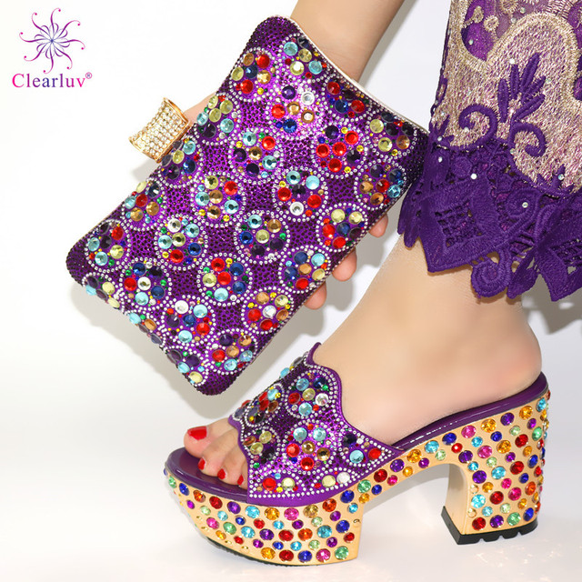 Black Color Matching Women Shoe and Bags Set Decorated with Rhinestone African Shoe and Bag Set for Party In Women Italy Shoes 4