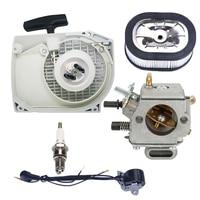 Recoil starter Carburetor kit Air filter Spark plug Ignition coil For Stihl 044 046 Chainsaw