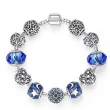 CodeMonkey Two-tone Silver Color Openwork Heart Blue Murano Beads Charm Bracelets & Bangles For Women Jewelry Accessories B205 two tone heart