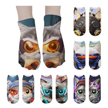 New Hot Sell 3D Printed Cartoon Cute Pokemon Cat Socks For Women Happy Creative Design Funny Low Ankle Unisex Cotton Socks носки new fashion creative design harajuku 3d printed socks women happy socks cartoon unicorn funny pokemon unisex short socks gift