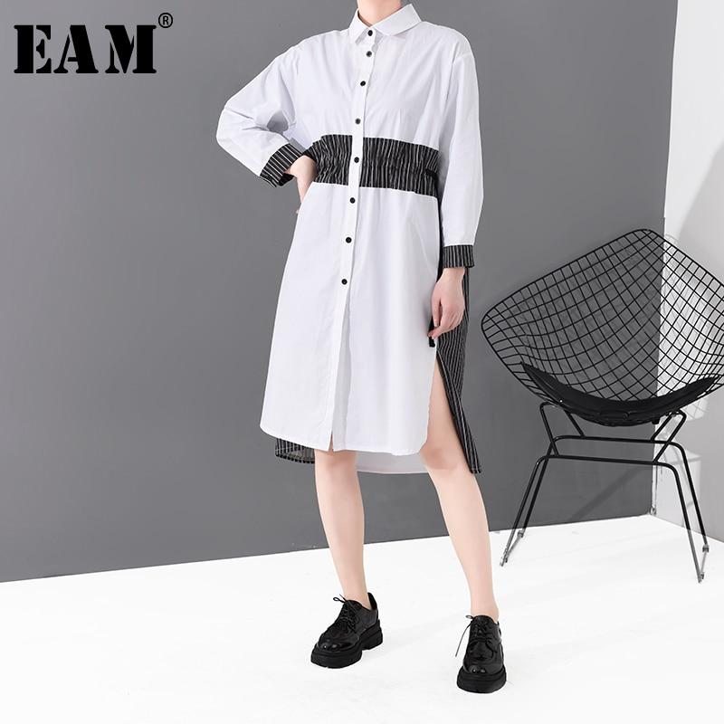 [EAM] Women White Drawstring Striped Split Shirt Dress New Lapel Long Sleeve Loose Fit Fashion Tide Spring Autumn 2020 1S806