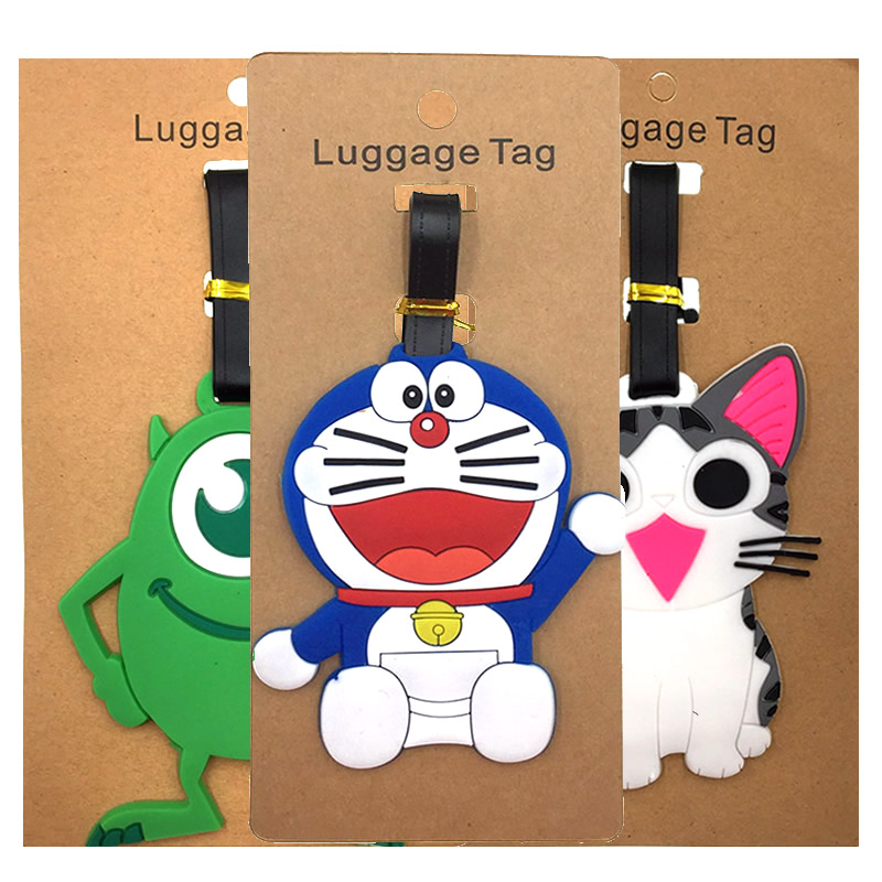 Travel Accessories Cartoon Animal Prints Cat Luggage Tags Holder Suitcase Label ID Addres Portable Silica Gel Baggage Boarding