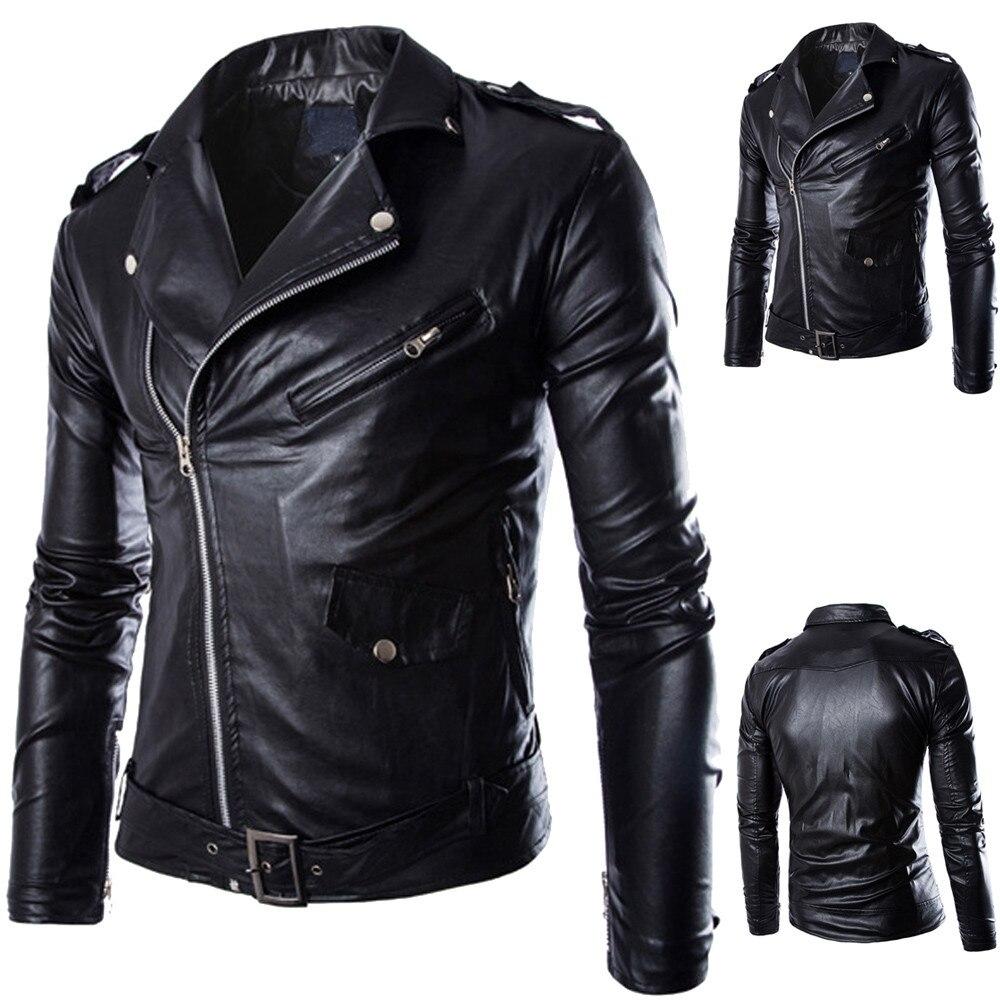 Men's Fashion Jacket куртка мужская Chaqueta Hombre Fashion Men's Autumn Winter Casual Leather Long Sleeve Jacket Coat Tops