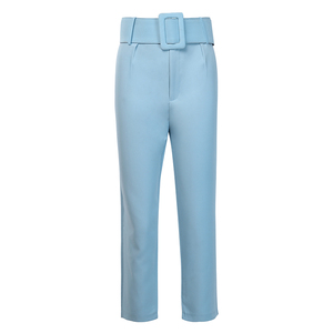 Image 5 - InstaHot Casual High Waist Pencil Pants Women Belt Ankle Length Office Lady Pants Blue Zipper Suit Trousers Straight Leg Sashes