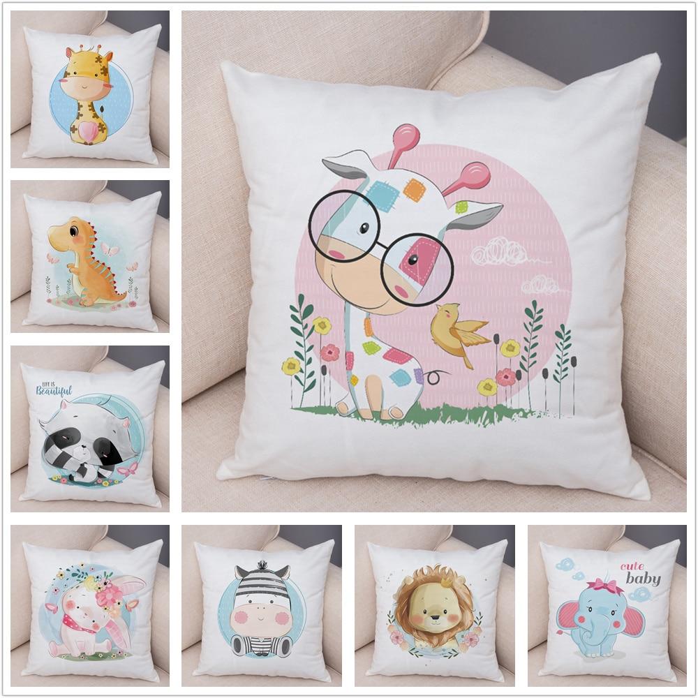 Super Soft Plush Cute Cartoon Giraffe Eleghant Lion Pillow Case Nordic Kids Room Decor Lovely Animal Cushion Cover For Sofa Home