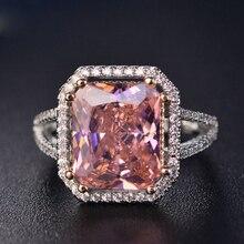 Мода 100% одноцветное 925 Серебряное кольцо ювелирное изделие, кольца для женщин, 10x12 мм Розовый шпинель бриллиантом изысканные ювелирные изде...