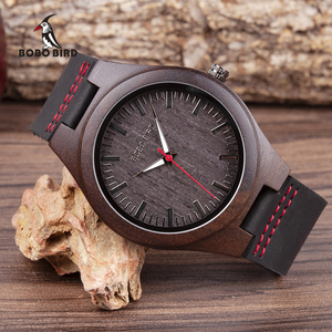 Image 1 - BOBO BIRD Wooden  Ebony Watch Men Quartz Wristwatches Male Wood Masculinos relogio masculino in Gift Box custom logo kol saati