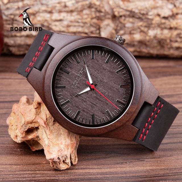 BOBO BIRD Wooden  Ebony Watch Men Quartz Wristwatches Male Wood Masculinos relogio masculino in Gift Box custom logo kol saati