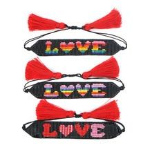 XUXI 2020 Simple Couple Bracelet Women Japan Rice Beads Fashion Weaving Love Heart Friendship Tassel Rope Chain Bracelets SS021