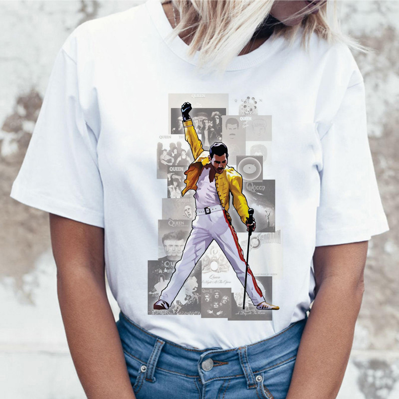 LUSLOS Freddie Mercury Fiction the Queen Band   t     shirt   Women's short sleeve clothing Pulp Female casual Harajuku women Tee   Shirt